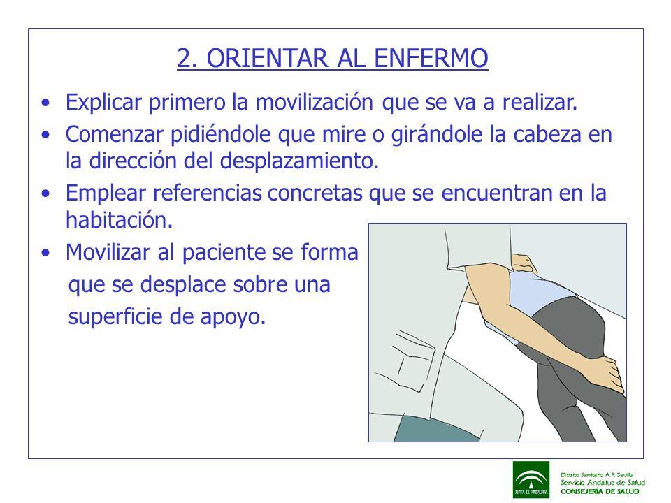 2. ORIENTAR AL ENFERMO Explicar primero la movilización que se va a realizar. Comenzar pidiéndole que mire o girándole la cabeza en la dirección del d