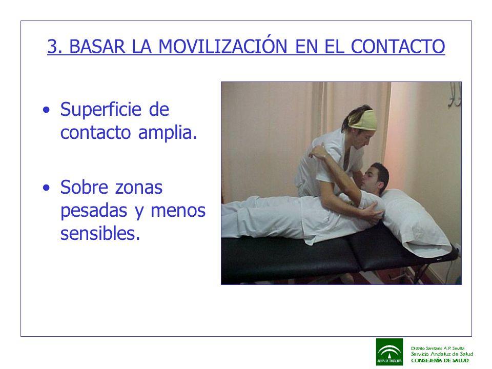 3. BASAR LA MOVILIZACIÓN EN EL CONTACTO Superficie de contacto amplia. Sobre zonas pesadas y menos sensibles.