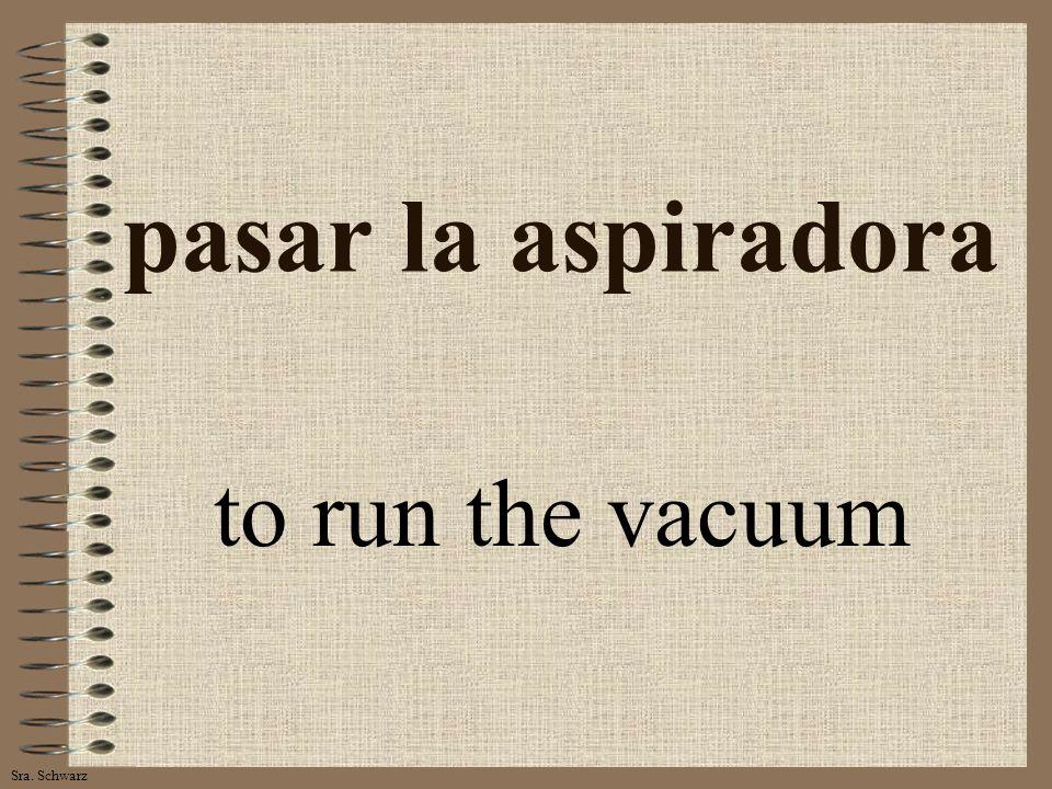 Sra. Schwarz pasar la aspiradora to run the vacuum