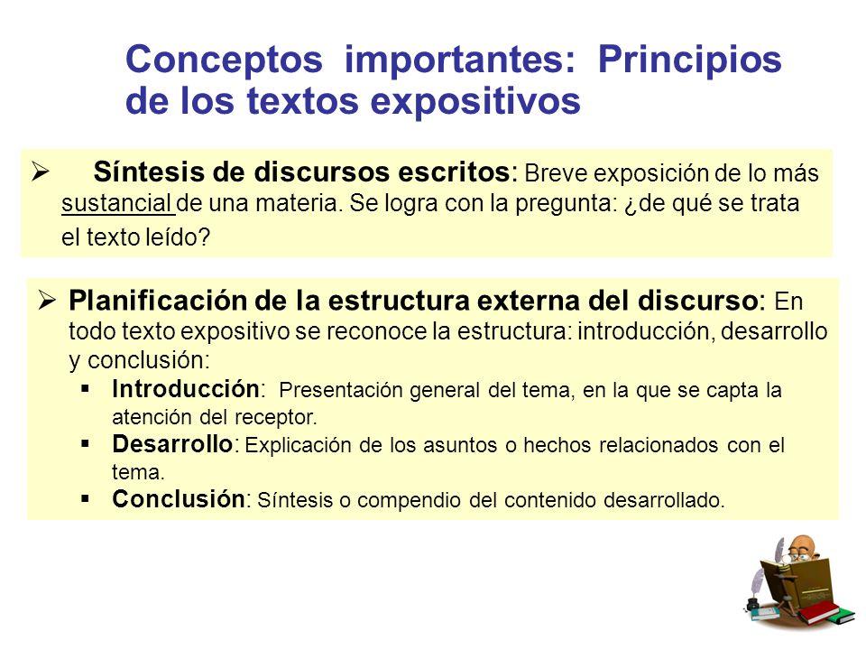 Conceptos importantes: Principios de los textos expositivos  Síntesis de discursos escritos: Breve exposición de lo más sustancial de una materia.