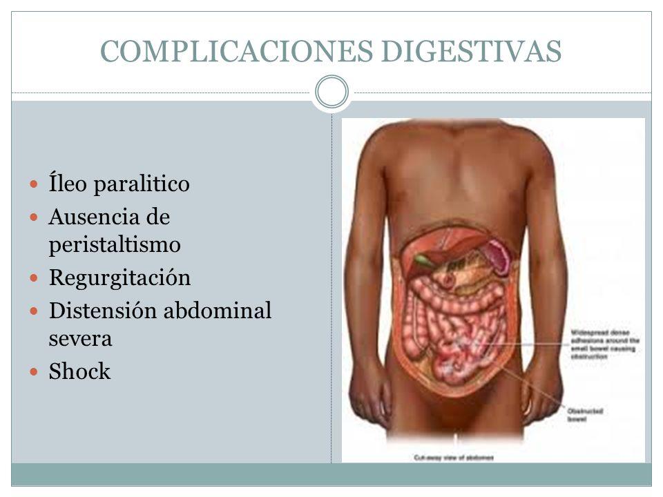 COMPLICACIONES DIGESTIVAS Íleo paralitico Ausencia de peristaltismo Regurgitación Distensión abdominal severa Shock