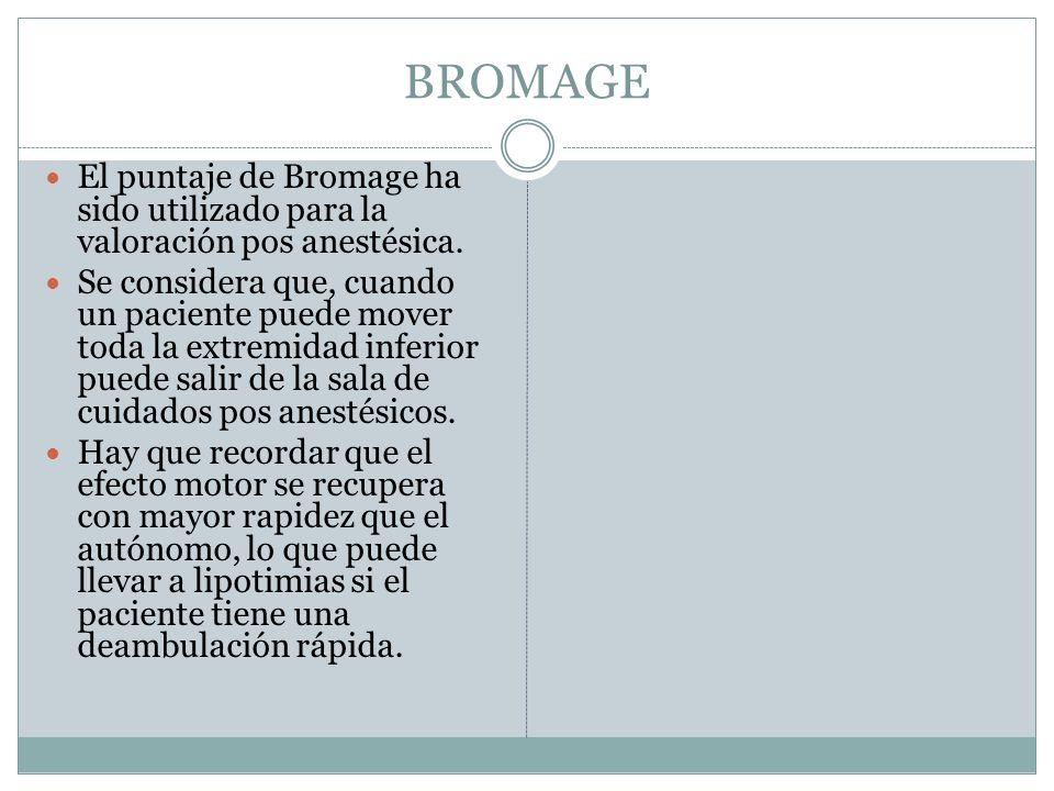 BROMAGE El puntaje de Bromage ha sido utilizado para la valoración pos anestésica. Se considera que, cuando un paciente puede mover toda la extremidad