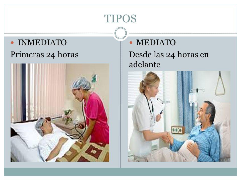 TIPOS INMEDIATO Primeras 24 horas MEDIATO Desde las 24 horas en adelante