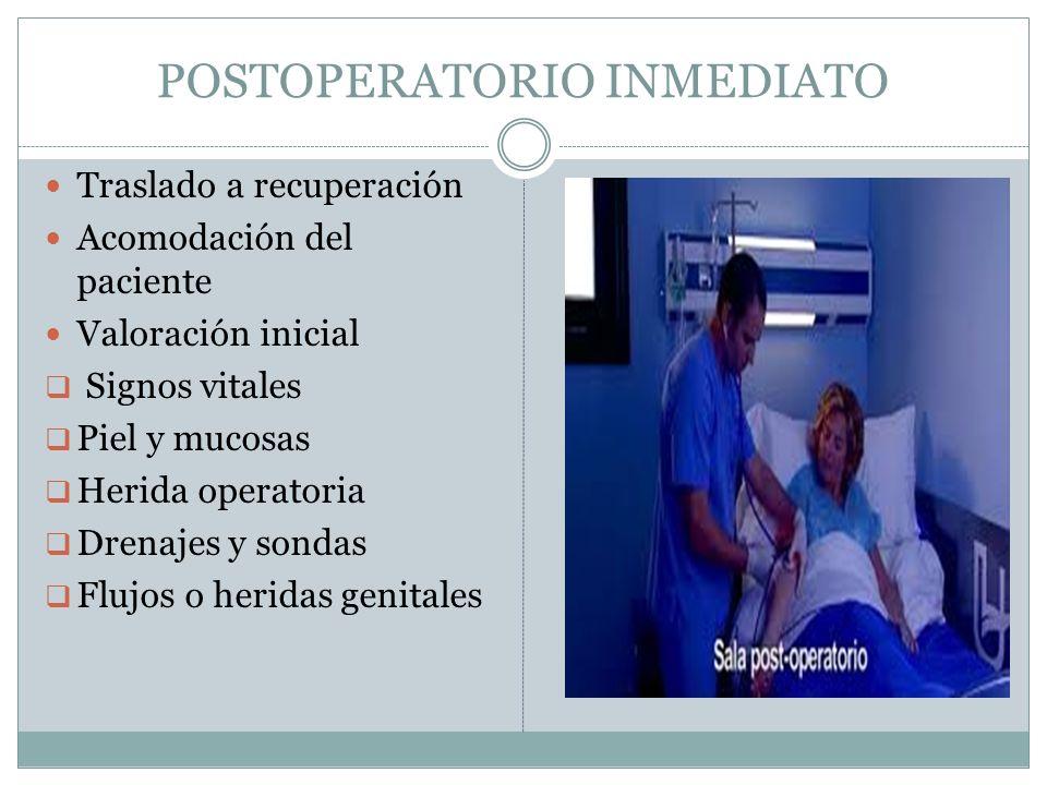 POSTOPERATORIO INMEDIATO Traslado a recuperación Acomodación del paciente Valoración inicial  Signos vitales  Piel y mucosas  Herida operatoria  D