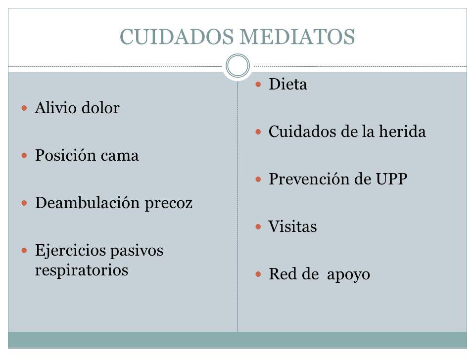 CUIDADOS MEDIATOS Alivio dolor Posición cama Deambulación precoz Ejercicios pasivos respiratorios Dieta Cuidados de la herida Prevención de UPP Visita
