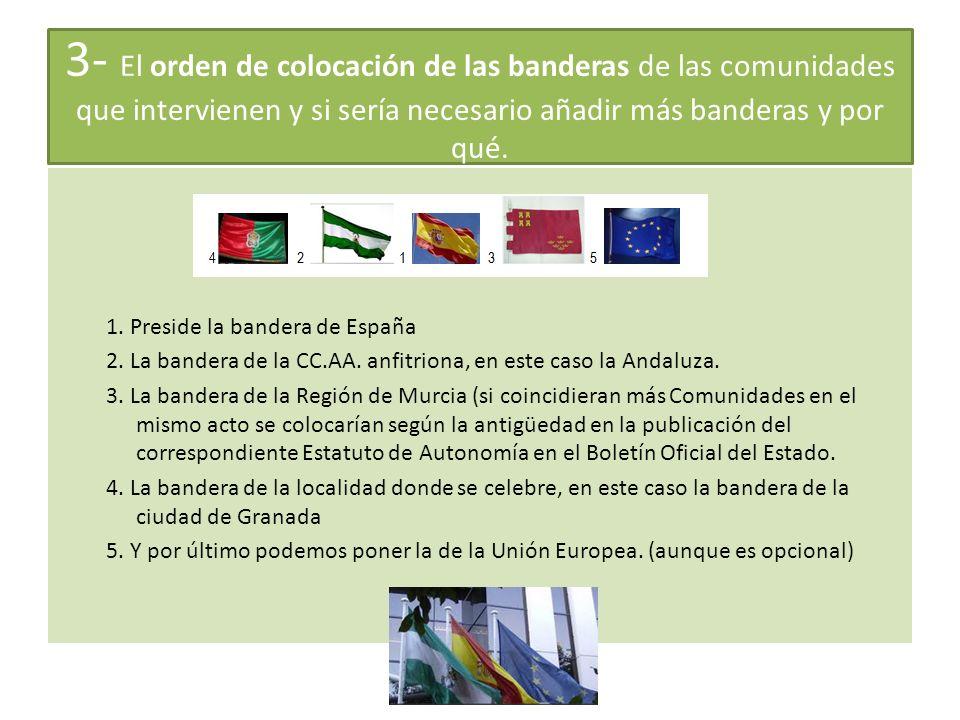 3- El orden de colocación de las banderas de las comunidades que intervienen y si sería necesario añadir más banderas y por qué.