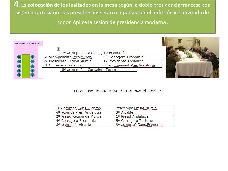 4. La colocación de los invitados en la mesa según la doble presidencia francesa con sistema cartesiano. Las presidencias serán ocupadas por el anfitr