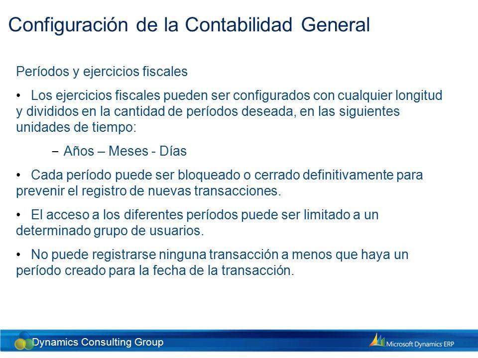 Dynamics Consulting Group Configuración de la Contabilidad General Condiciones de asignación A través de esta funcionalidad, es posible distribuir cantidades monetarias a una o varias cuentas y/o combinación de dimensiones.