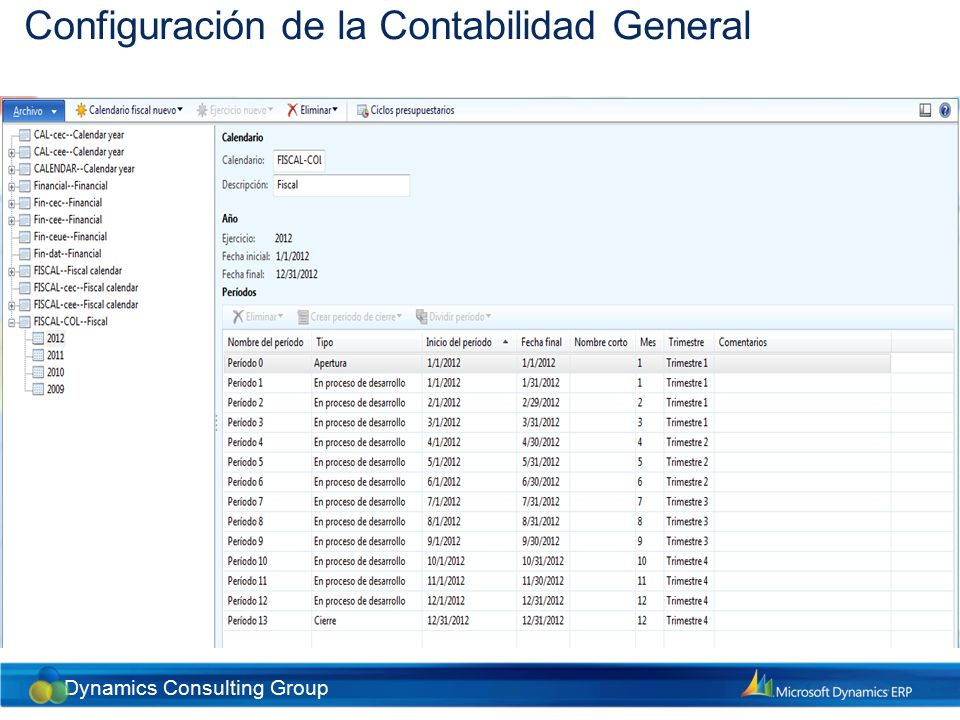 Dynamics Consulting Group Configuración de la Contabilidad General Intervalos de fechas Son períodos pre-definidos utilizados para correr informes y reportes financieros.