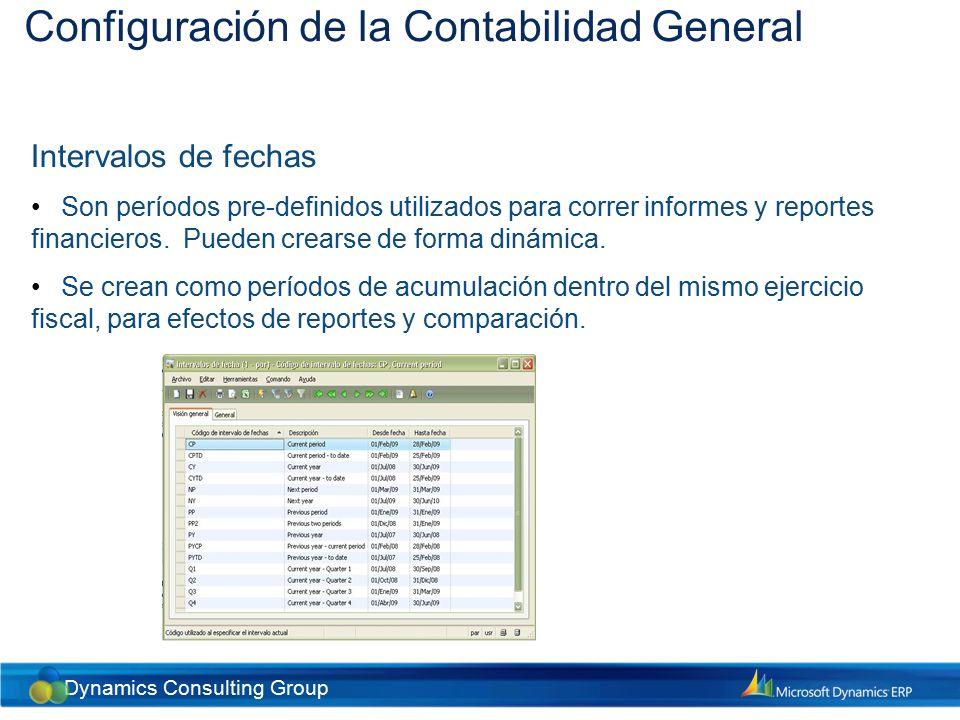Dynamics Consulting Group Configuración del Plan General de Cuentas Plan General de Cuentas Es una lista estructurada de todas las cuentas contables, en donde se captura toda la información financiera de la empresa.
