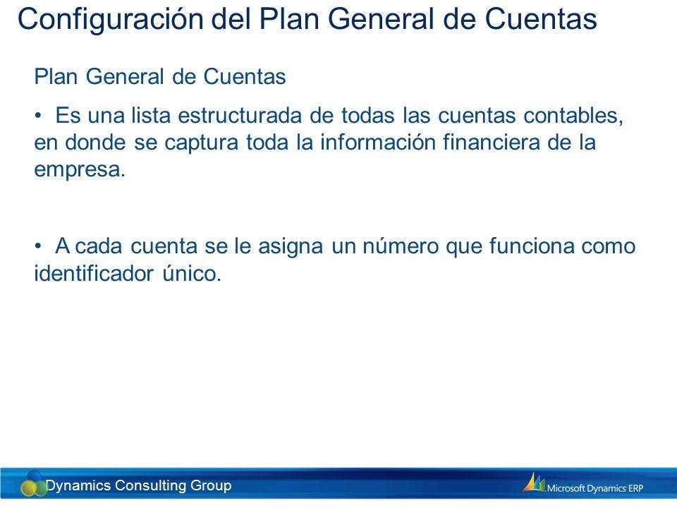 Configuración del Plan General de Cuentas Cuentas del sistema Muchos de los registros en Dynamics AX se hacen de forma automática.