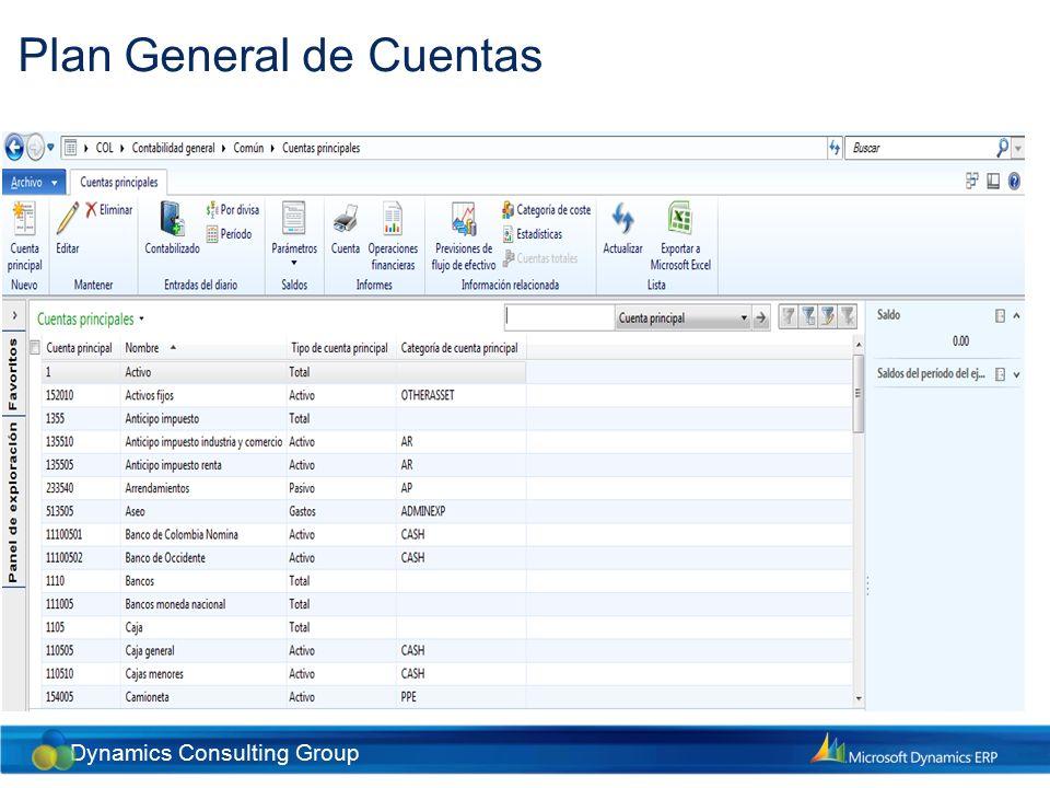 Dynamics Consulting Group Configuración de Diarios Diarios contables Todos las transacciones contables manuales se ingresan en el sistema a través de diarios.