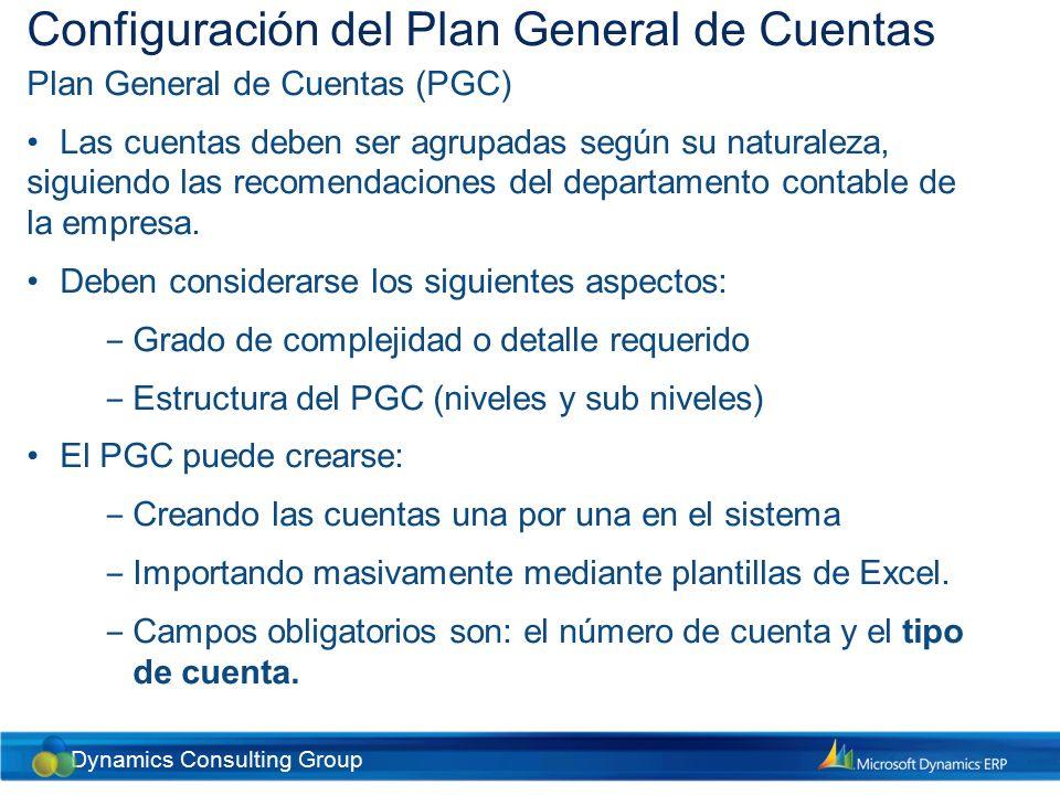 Dynamics Consulting Group Procedimientos diarios de la contabilidad General Exenciones de impuestos Puede ser necesario configurar códigos para justificar que una transacción esté exenta de impuestos.