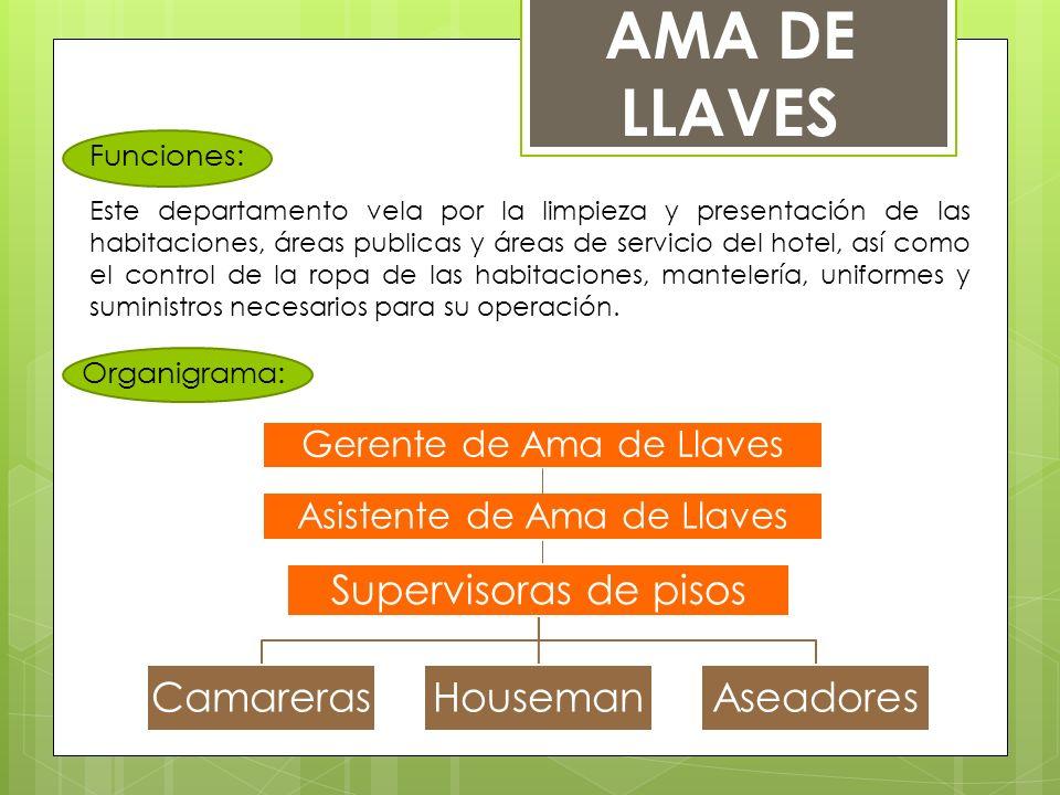 Funciones: Organigrama: AMA DE LLAVES Este departamento vela por la limpieza y presentación de las habitaciones, áreas publicas y áreas de servicio de