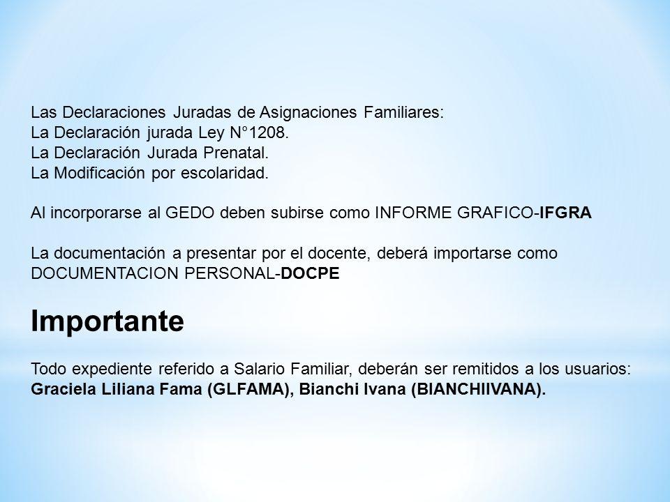 Las Declaraciones Juradas de Asignaciones Familiares: La Declaración jurada Ley N°1208.