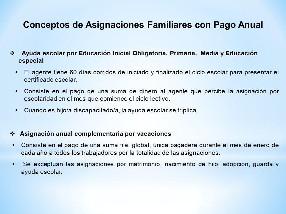  Ayuda escolar por Educación Inicial Obligatoria, Primaria, Media y Educación especial El agente tiene 60 días corridos de iniciado y finalizado el ciclo escolar para presentar el certificado escolar.