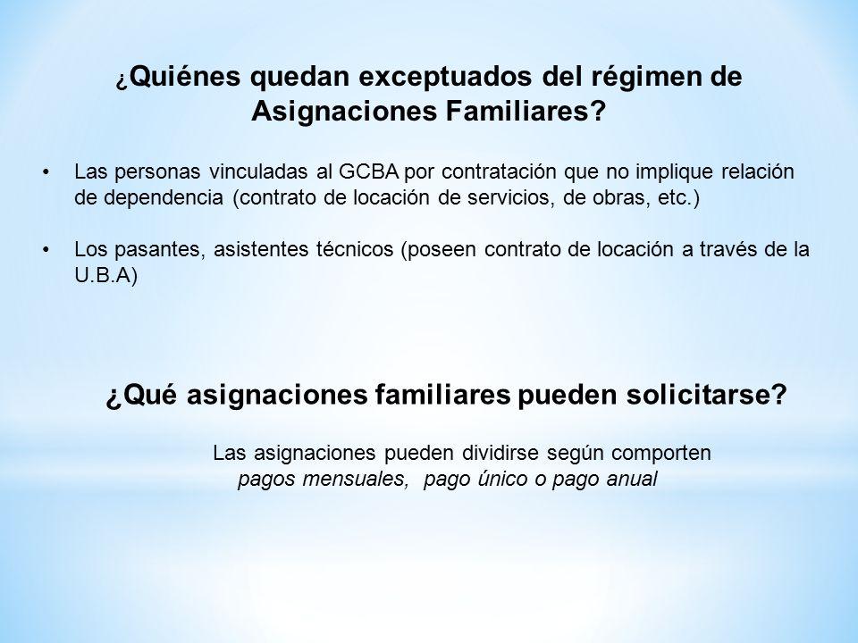 ¿ Quiénes quedan exceptuados del régimen de Asignaciones Familiares.