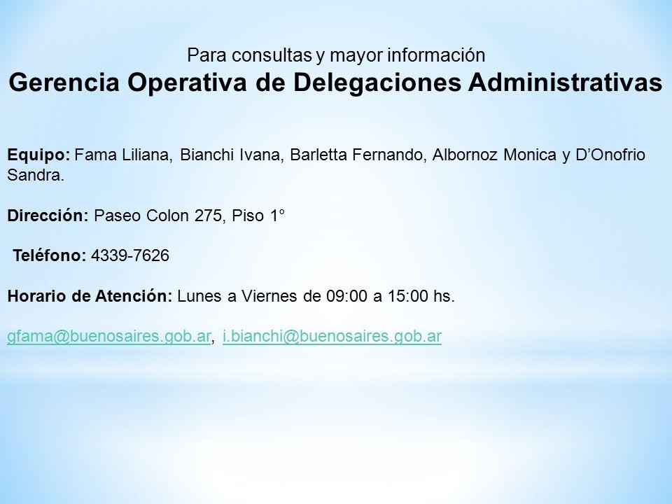 Para consultas y mayor información Gerencia Operativa de Delegaciones Administrativas Equipo: Fama Liliana, Bianchi Ivana, Barletta Fernando, Albornoz Monica y D'Onofrio Sandra.