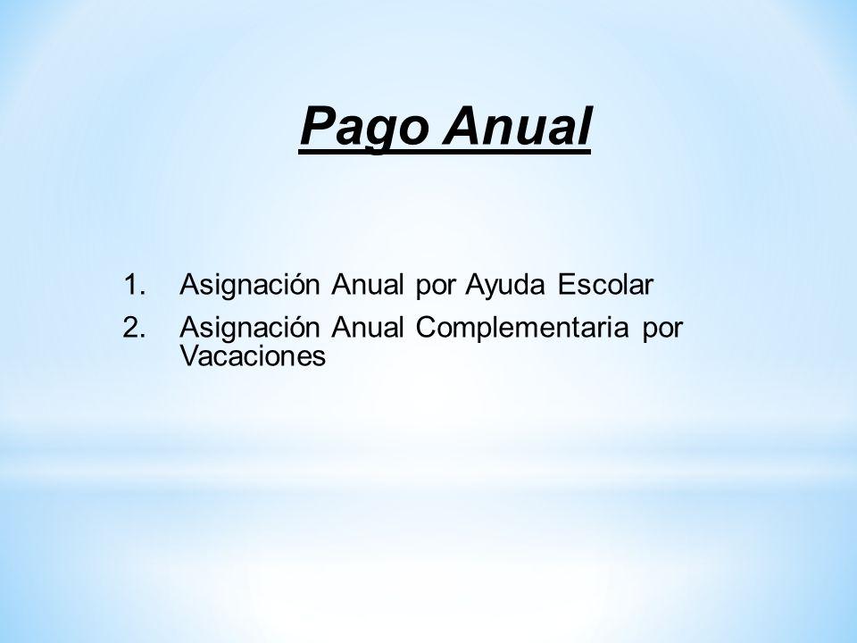 Pago Anual 1.Asignación Anual por Ayuda Escolar 2.Asignación Anual Complementaria por Vacaciones