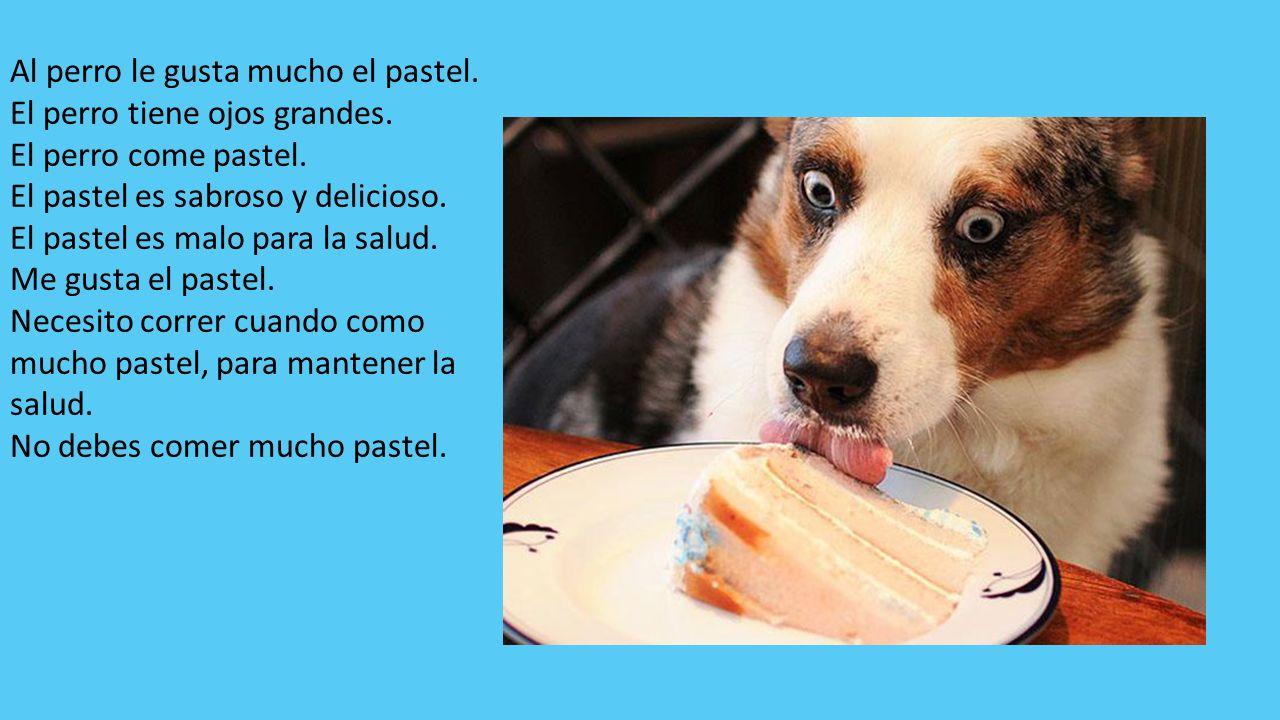 Al perro le gusta mucho el pastel.El perro tiene ojos grandes.