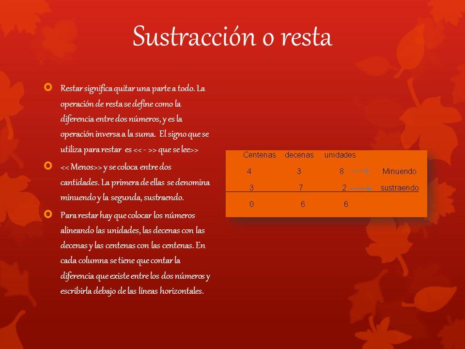 Sustracción o resta  Restar significa quitar una parte a todo.