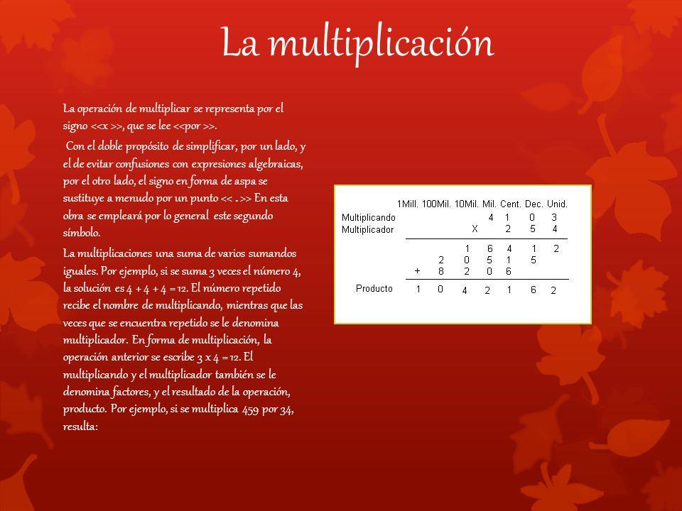 La multiplicación La operación de multiplicar se representa por el signo >, que se lee >.