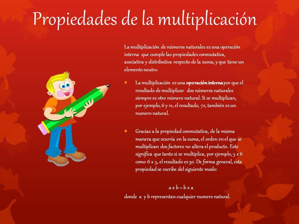 Propiedades de la multiplicación La multiplicación de números naturales es una operación interna que cumple las propiedades conmutativa, asociativa y distributiva respecto de la suma, y que tiene un elemento neutro.