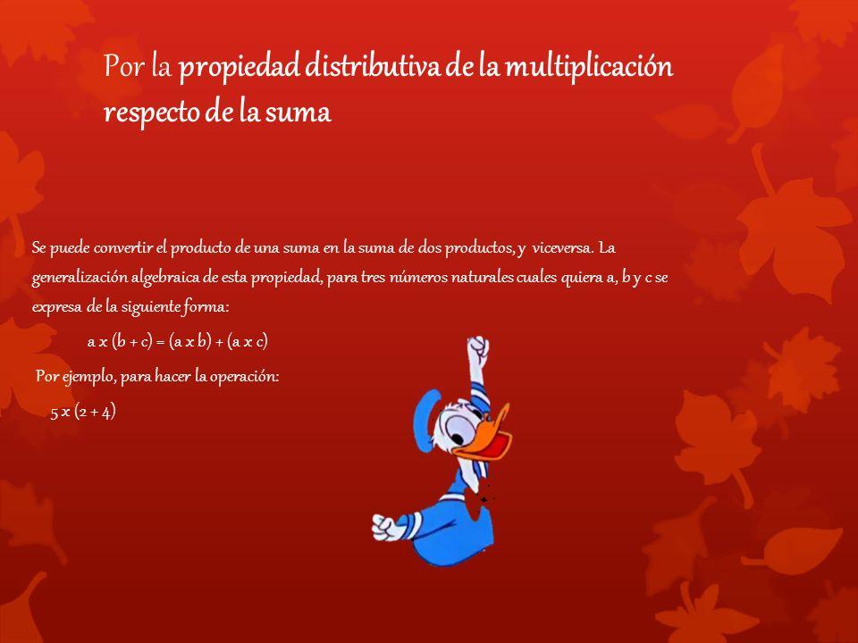 Por la propiedad distributiva de la multiplicación respecto de la suma Se puede convertir el producto de una suma en la suma de dos productos, y viceversa.