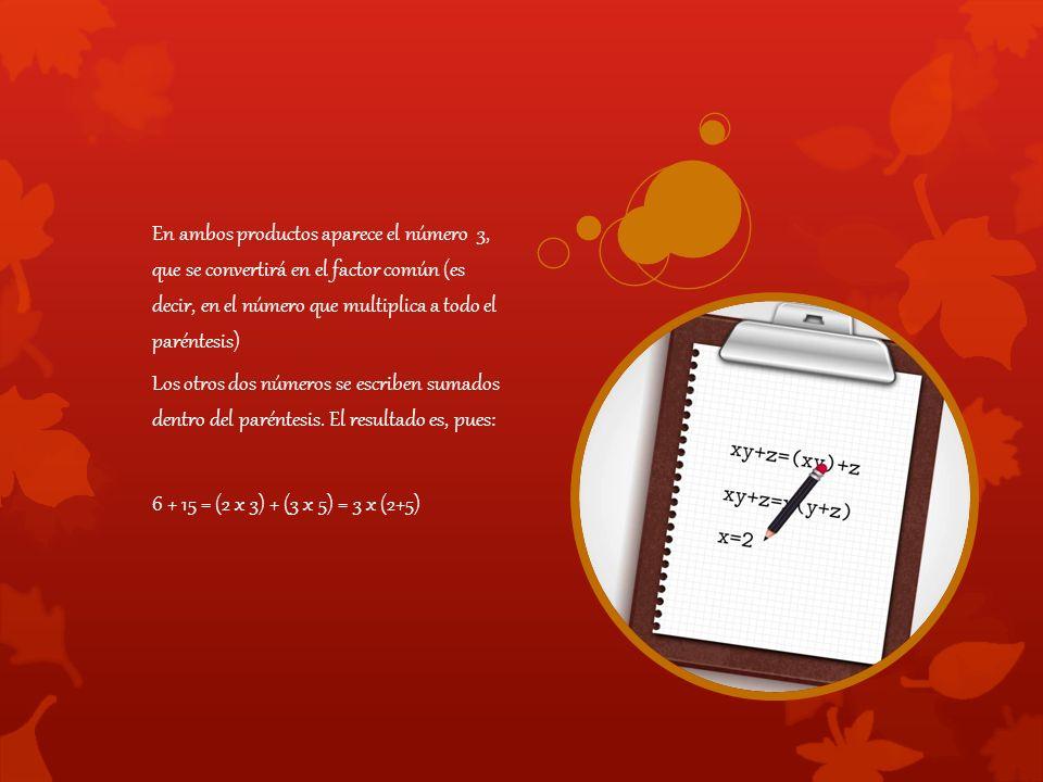 En ambos productos aparece el número 3, que se convertirá en el factor común (es decir, en el número que multiplica a todo el paréntesis) Los otros dos números se escriben sumados dentro del paréntesis.