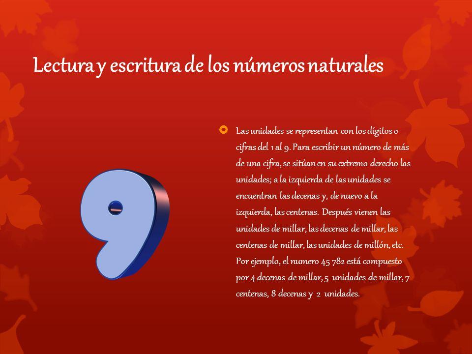 Lectura y escritura de los números naturales  Las unidades se representan con los dígitos o cifras del 1 al 9.