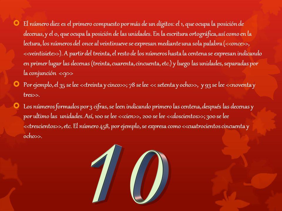  El número diez es el primero compuesto por más de un dígitos: el 1, que ocupa la posición de decenas, y el 0, que ocupa la posición de las unidades.