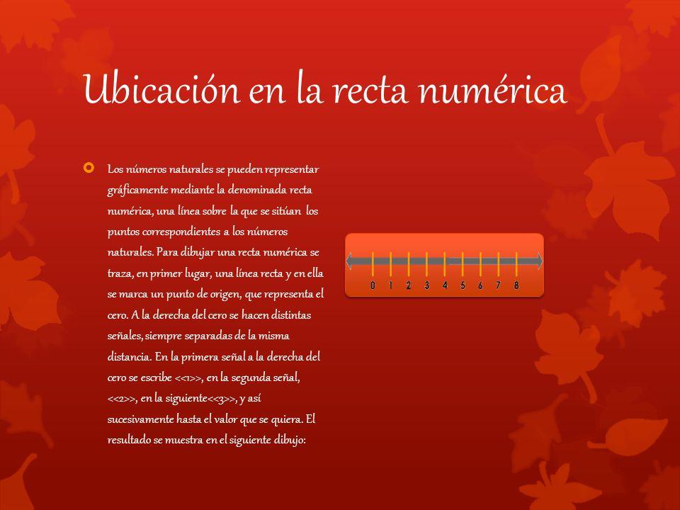 Ubicación en la recta numérica  Los números naturales se pueden representar gráficamente mediante la denominada recta numérica, una línea sobre la que se sitúan los puntos correspondientes a los números naturales.