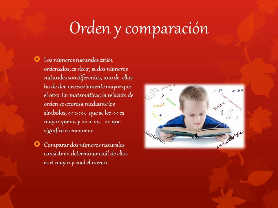 Orden y comparación  Los números naturales están ordenados, es decir, si dos números naturales son diferentes, uno de ellos ha de der necesariamente mayor que el otro.