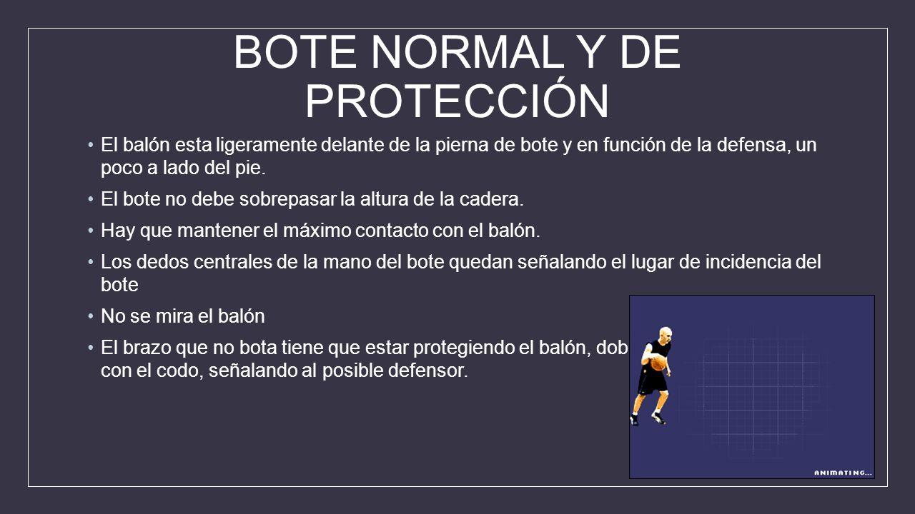 BOTE NORMAL Y DE PROTECCIÓN El balón esta ligeramente delante de la pierna de bote y en función de la defensa, un poco a lado del pie.