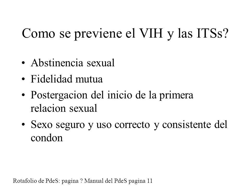 Como se previene el VIH y las ITSs.
