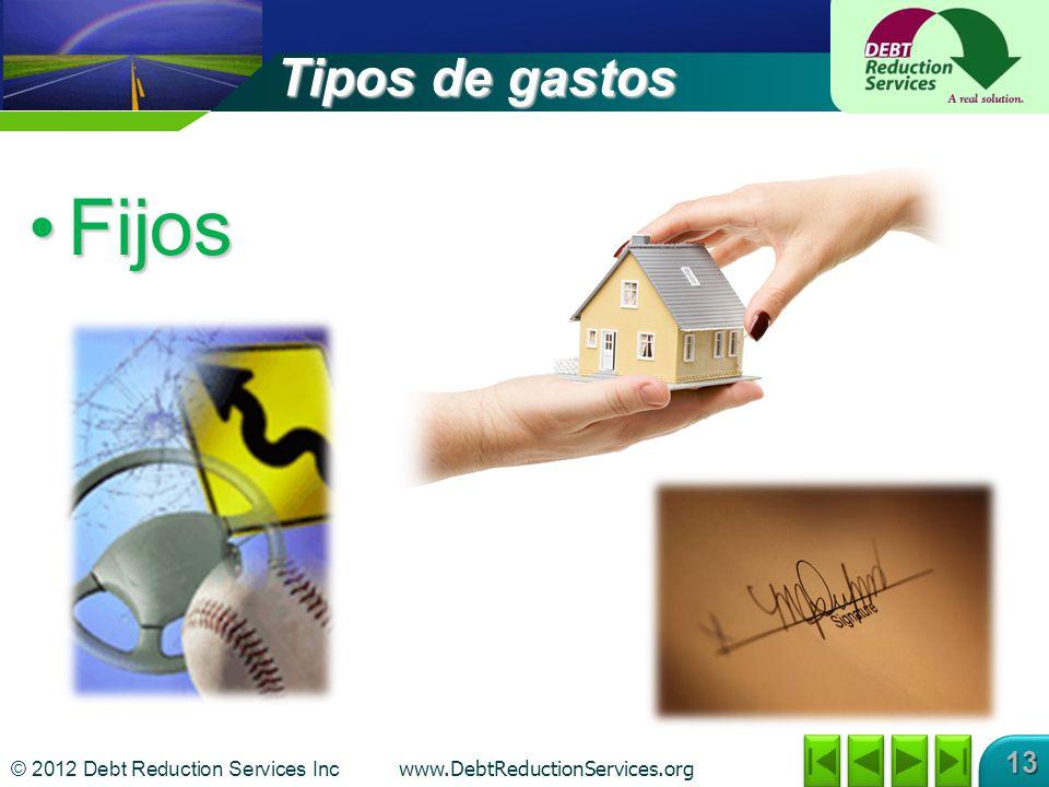 © 2012 Debt Reduction Services Inc www.DebtReductionServices.org 13 Tipos de gastos FijosFijos