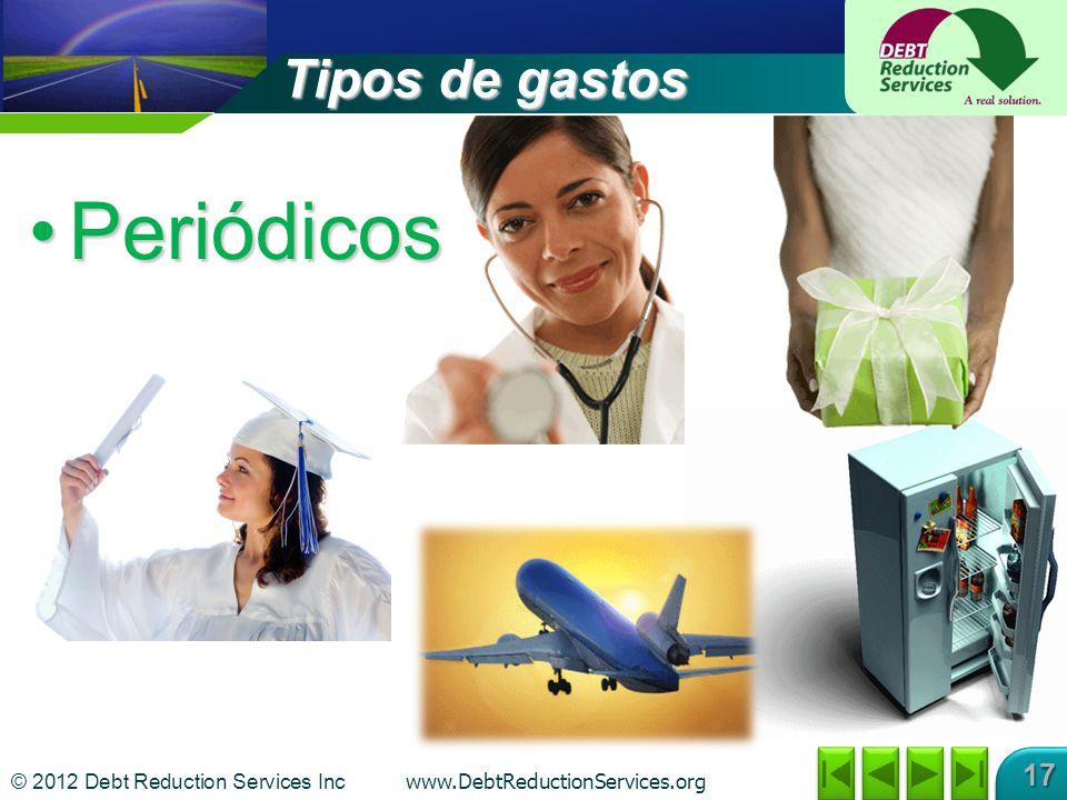 © 2012 Debt Reduction Services Inc www.DebtReductionServices.org 17 Tipos de gastos PeriódicosPeriódicos