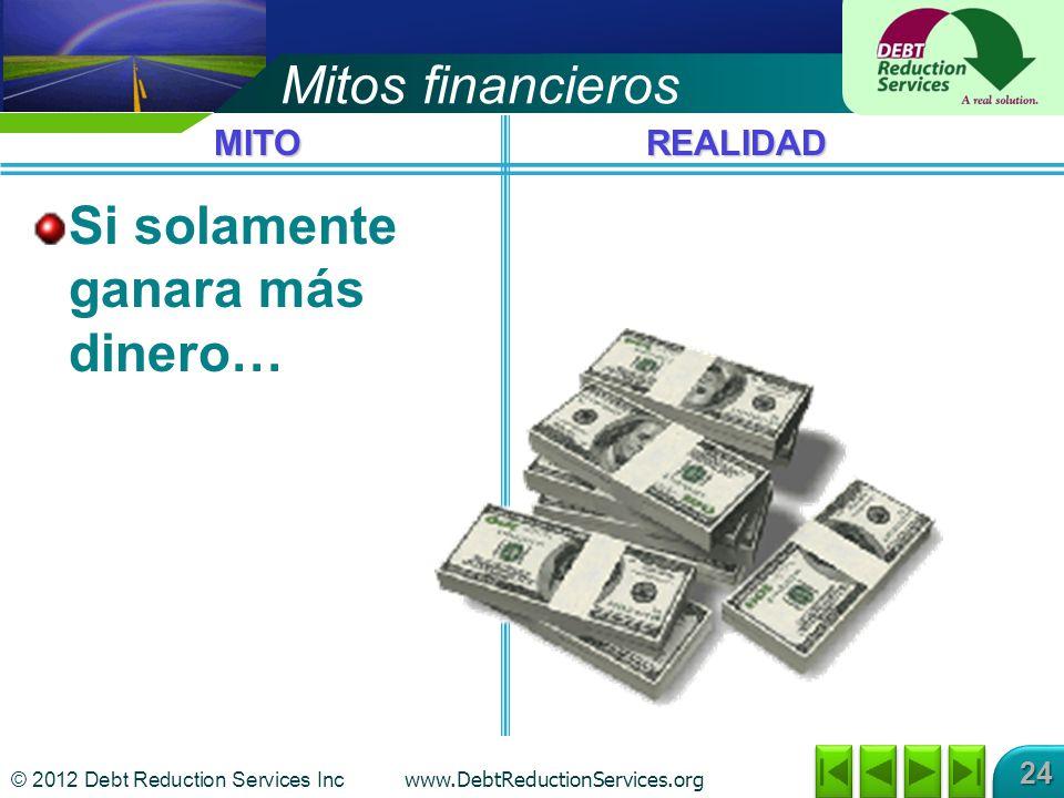 © 2012 Debt Reduction Services Inc www.DebtReductionServices.org 24 Mitos financieros Si solamente ganara más dinero… MITOREALIDAD