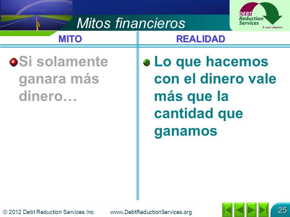 © 2012 Debt Reduction Services Inc www.DebtReductionServices.org 25 Mitos financieros Si solamente ganara más dinero… Lo que hacemos con el dinero vale más que la cantidad que ganamos MITOREALIDAD