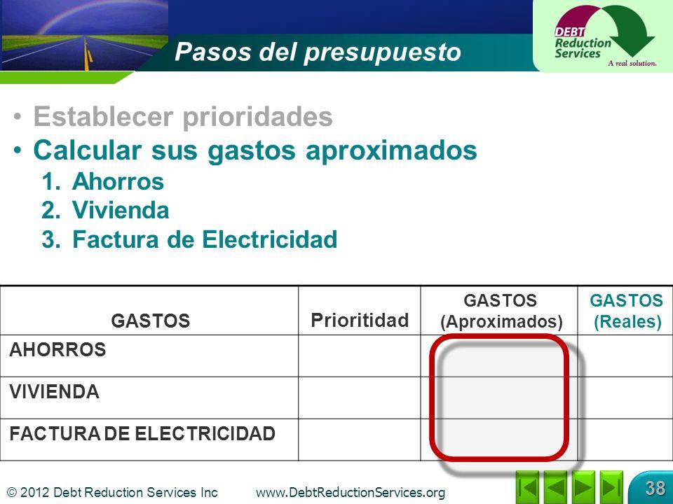 © 2012 Debt Reduction Services Inc www.DebtReductionServices.org 38 GASTOS Prioritidad GASTOS (Aproximados) GASTOS (Reales) AHORROS VIVIENDA FACTURA D