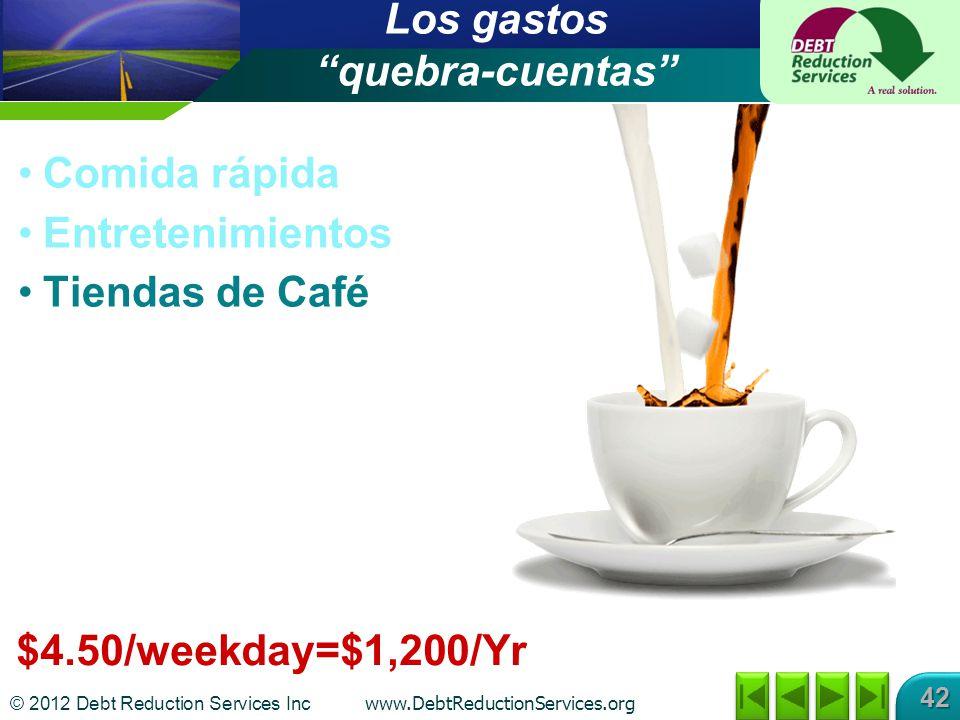 © 2012 Debt Reduction Services Inc www.DebtReductionServices.org 42 $4.50/weekday=$1,200/Yr Los gastos quebra-cuentas Comida rápida Entretenimientos Tiendas de Café