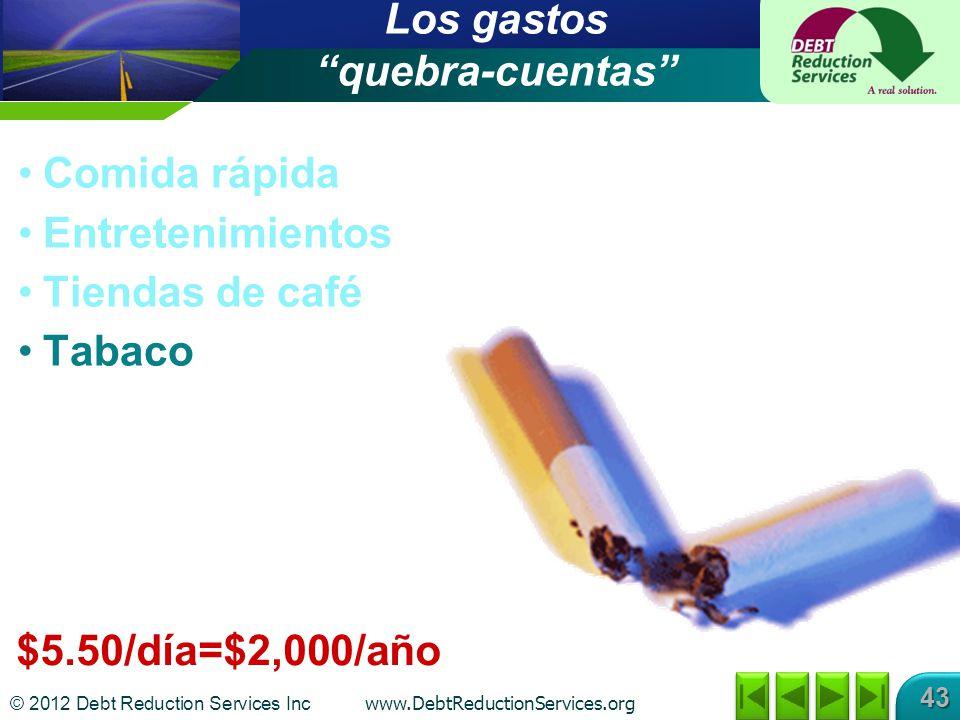 © 2012 Debt Reduction Services Inc www.DebtReductionServices.org 43 Los gastos quebra-cuentas Comida rápida Entretenimientos Tiendas de café Tabaco $5.50/día=$2,000/año