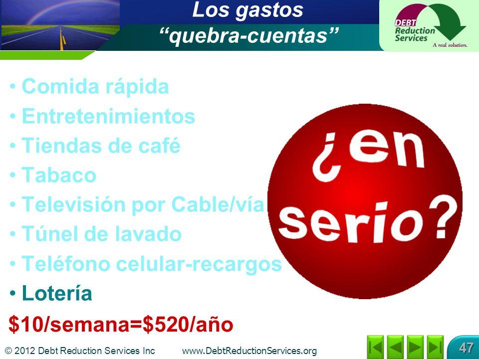 © 2012 Debt Reduction Services Inc www.DebtReductionServices.org 47 $10/semana=$520/año Los gastos quebra-cuentas Comida rápida Entretenimientos Tiend