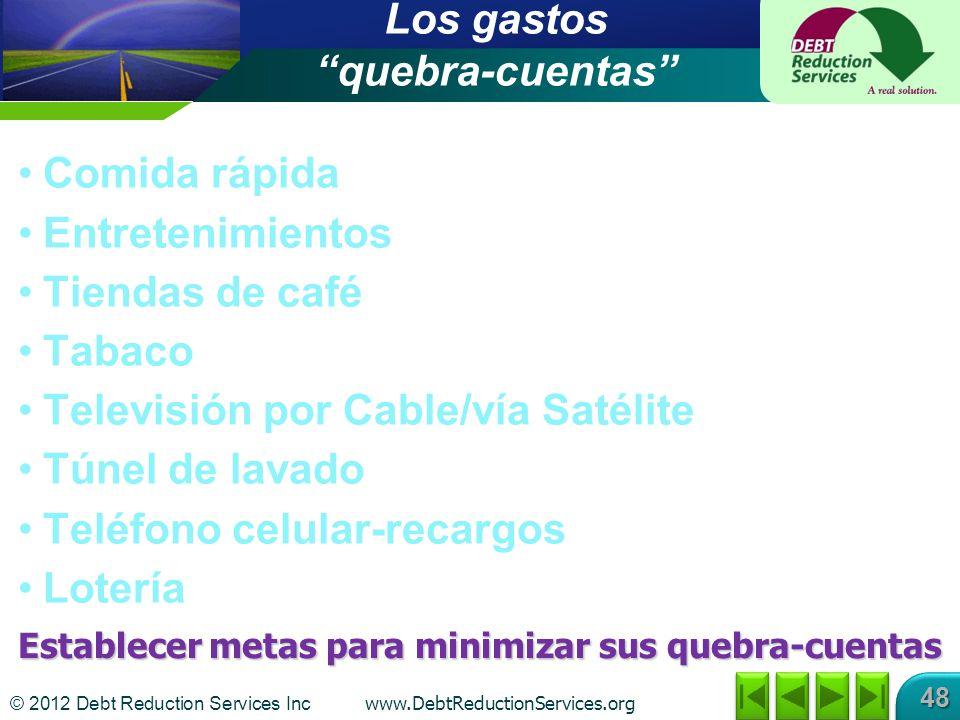 © 2012 Debt Reduction Services Inc www.DebtReductionServices.org 48 Los gastos quebra-cuentas Comida rápida Entretenimientos Tiendas de café Tabaco Te