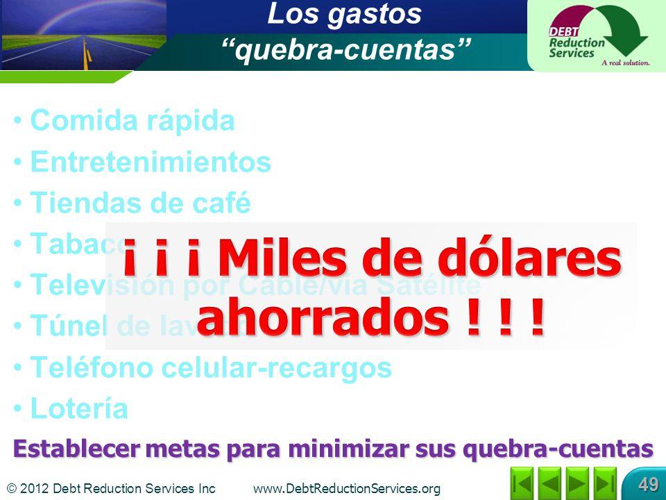 © 2012 Debt Reduction Services Inc www.DebtReductionServices.org 49 Los gastos quebra-cuentas Comida rápida Entretenimientos Tiendas de café Tabaco Te