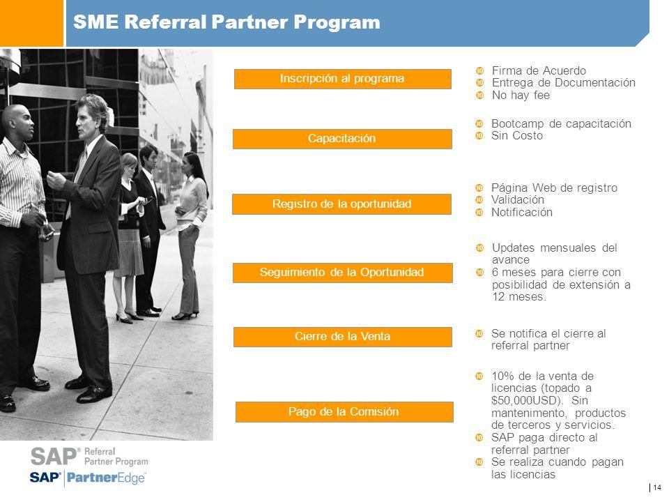 14 SME Referral Partner Program Inscripción al programa Capacitación Registro de la oportunidad Seguimiento de la Oportunidad Cierre de la Venta Pago