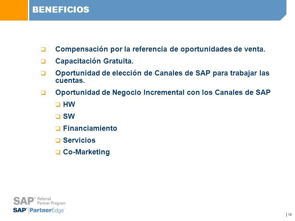 15 BENEFICIOS Compensación por la referencia de oportunidades de venta. Capacitación Gratuita. Oportunidad de elección de Canales de SAP para trabajar