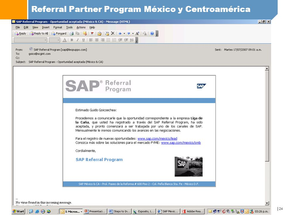 24 Referral Partner Program México y Centroamérica www.sap.com/mexico/referralprogram