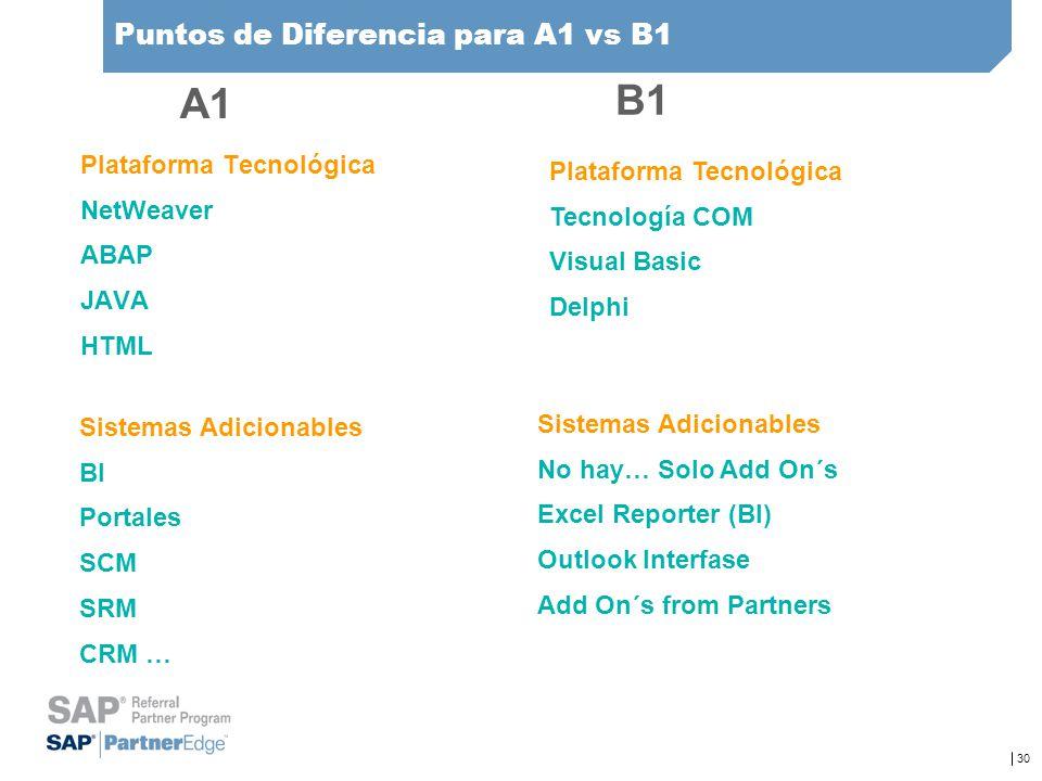 30 Puntos de Diferencia para A1 vs B1 Plataforma Tecnológica NetWeaver ABAP JAVA HTML Plataforma Tecnológica Tecnología COM Visual Basic Delphi Sistem