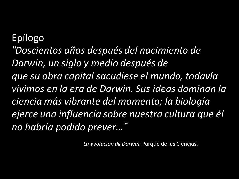 Epílogo Doscientos años después del nacimiento de Darwin, un siglo y medio después de que su obra capital sacudiese el mundo, todavía vivimos en la era de Darwin.
